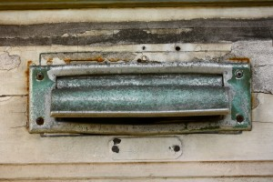 tan and turquoise mail slot